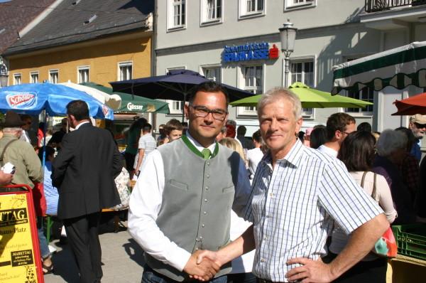 """Gemeinsam für Rottenmann aktiv: Bgm.  Alfred. Bernhard (ÖVP) und """"Vize"""" Helmut Schaupensteiner (WiR)"""
